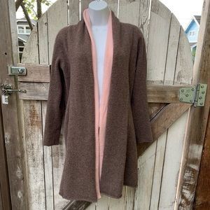 Ply Cashmere Pink and Brown Cardigan Sweater